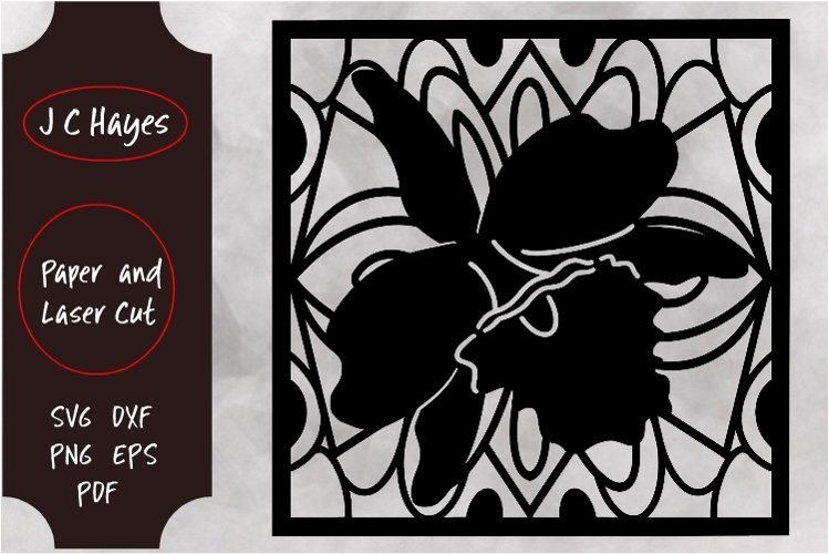 Orchid Decorative Panel for Laser or Paper Cut