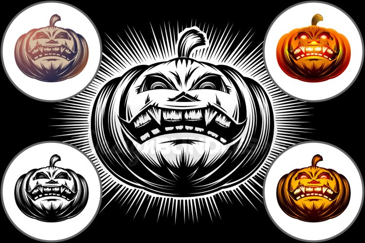 Vector Halloween Pumpkin Carved Eyes Mouth Icon Set example image 1