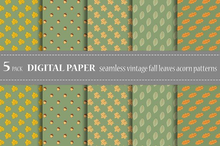 Bundle vector seamless botanical patterns fall leaves acorn example image 1