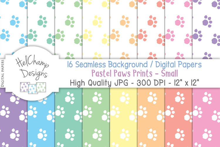 16 seamless Digital Papers - Pastel Paws Print Small - HC027