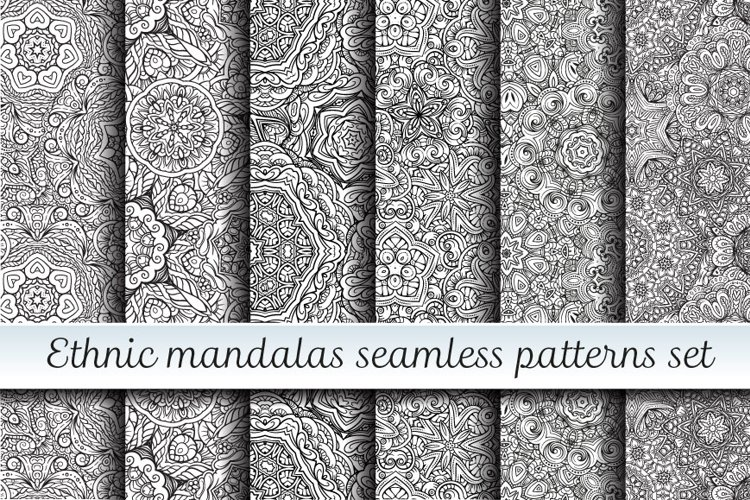 Ethnic mandalas black and white seamless patterns example image 1