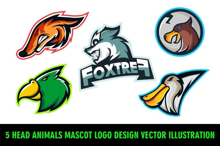 5 Head Animals Mascot Logo Design Vector Illustration example image 1