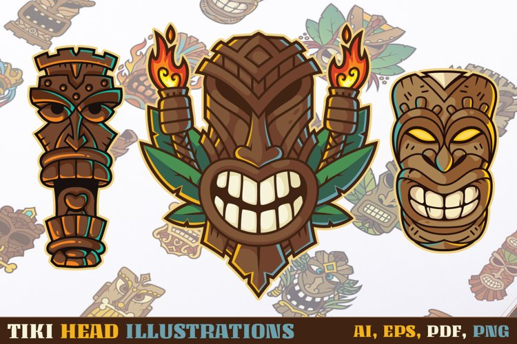 Tiki Head Illustrations Set and Sublimation Designs example image 1