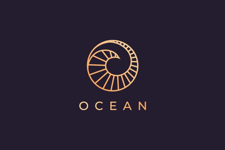 luxurious ocean wave logo template example image 1