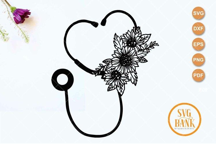 Sunflower Stethoscope svg, Floral Nurse SVG example image 1