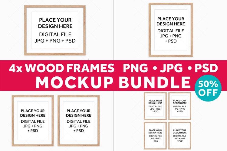 Wood Frames Mockup Bundle, Poster Mockup Digital Frames example image 1