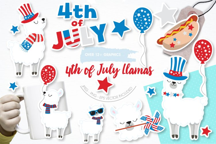 Llama 4th of July graphics and illustrations
