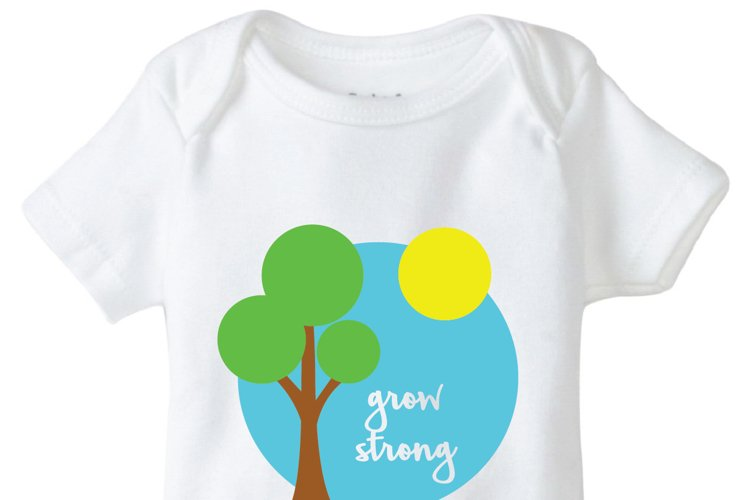 Grow Strong Onesie Design, SVG, DXF, EPS Vector files for use with Cricut or Silhouette Vinyl Cutting Machines. example image 1