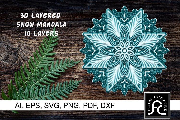 3D Layered Snow Mandala - SVG - Vol 3 example image 1