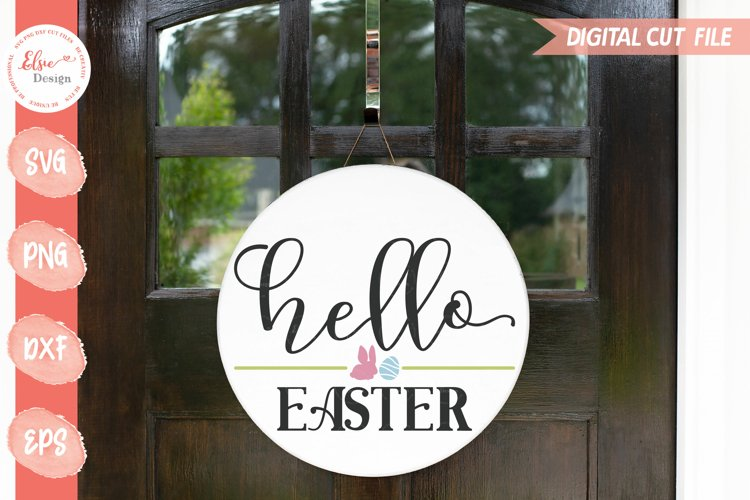 Hello Easter Round Sign SVG Cut Files example image 1