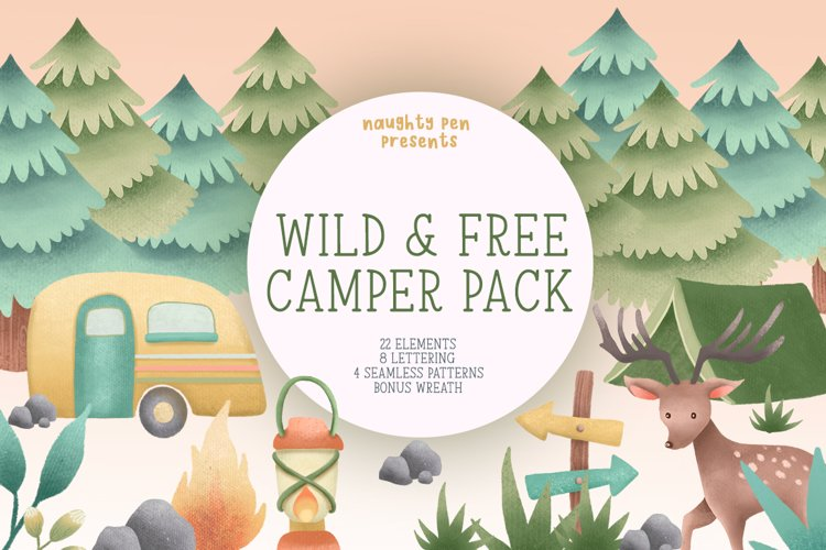 Wild and Free Camper Clipart Pack example image 1