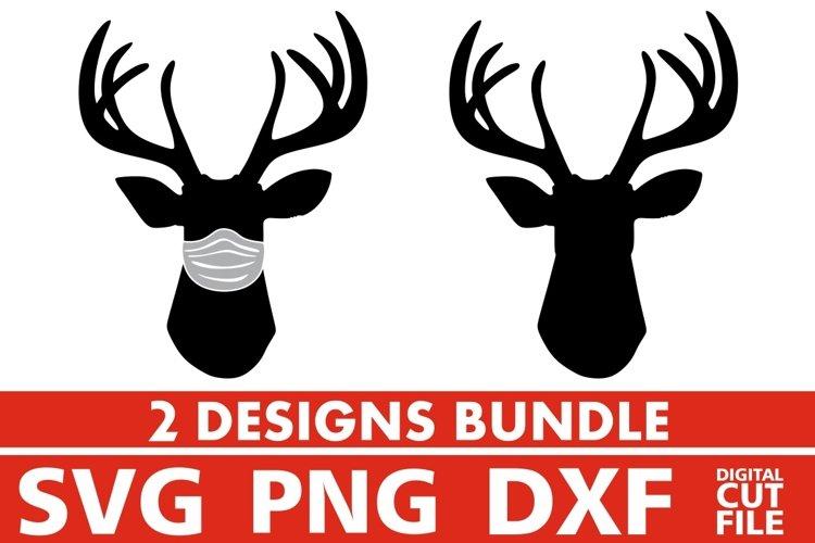 2x Deer Head Bundle svg, Mask svg, Antlers svg, Hunting svg example image 1