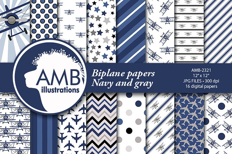 Biplane Patterns, Navy and Gray Papers, AMB-2321 example image 1