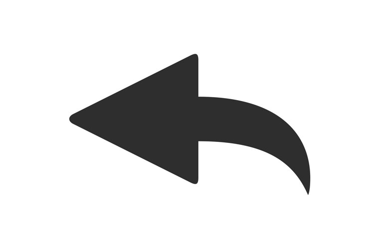 Curved back arrow. Left pointer icon, curve cursor vector sy example image 1