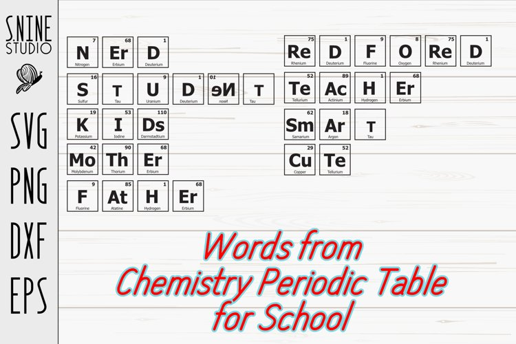 Chemistry Periodic Table Words for School SVG Cut File example image 1