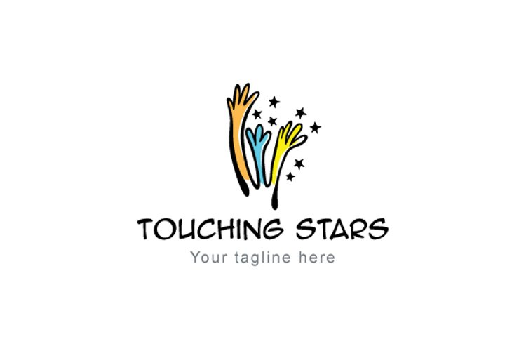 Touching Stars - Illustrative Hands Stock Logo Template example image 1