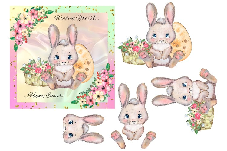 Easter Bunny with Flowers & Egg