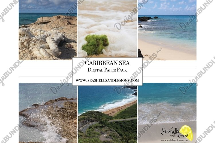Caribbean Sea Photo Bundle - Digital Paper Pack - Sqaure example image 1