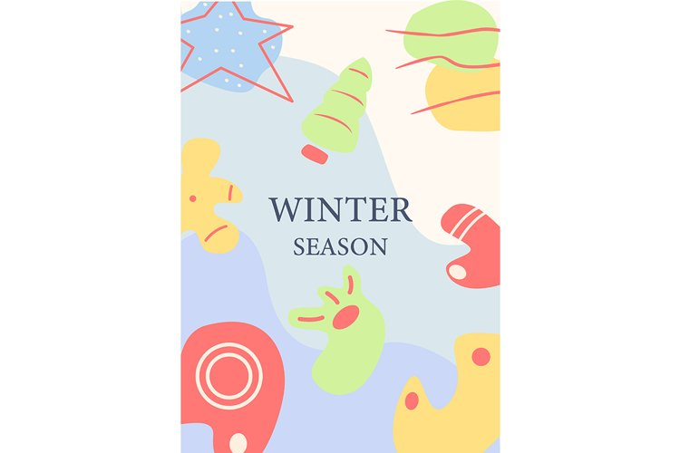 Winter season abstract poster template example image 1