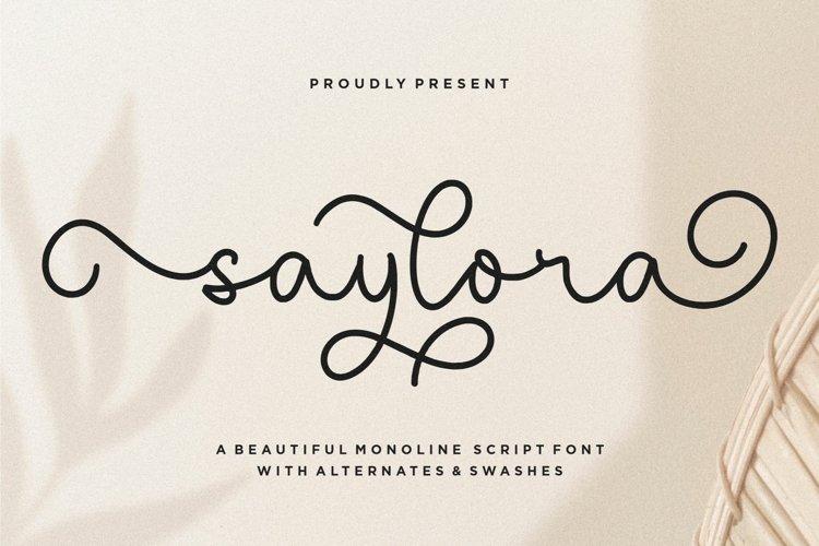 saylora Beautiful Monoline Script Font