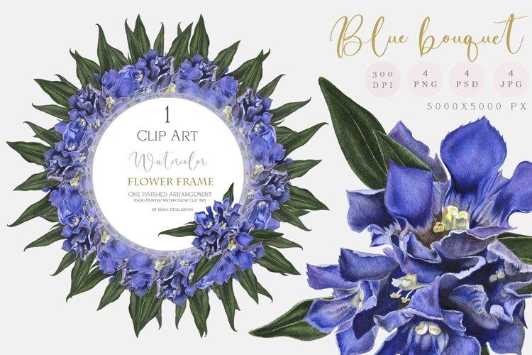 Wedding flower frame - Watercolor blue bouquet clipart
