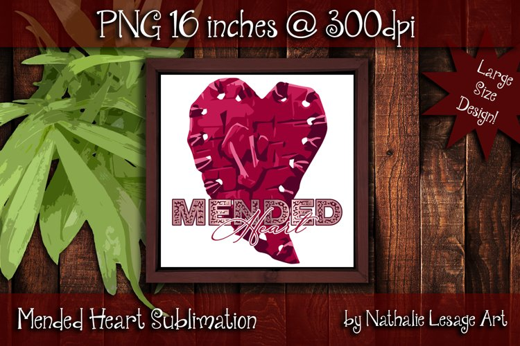 Mended Broken Heart Sublimation 16 inches wide PNG at 300dpi example image 1