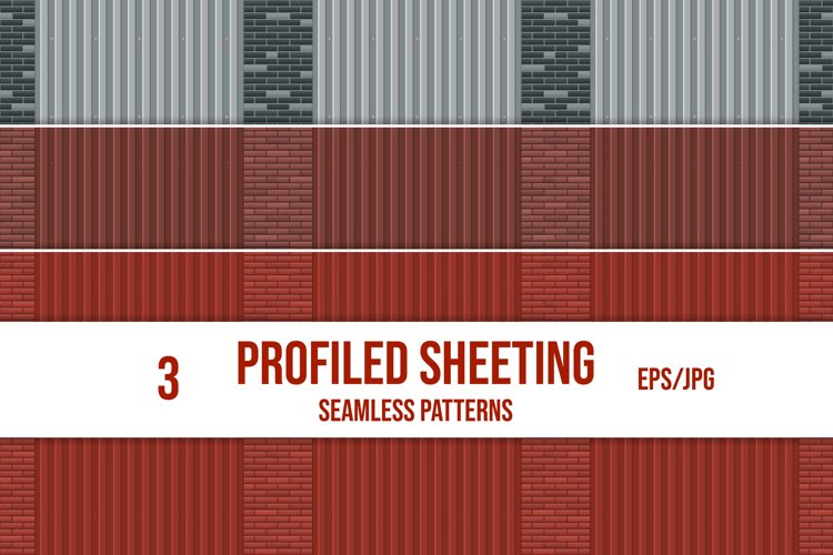 Set of profiled sheeting and brick wall seamless patterns. example image 1