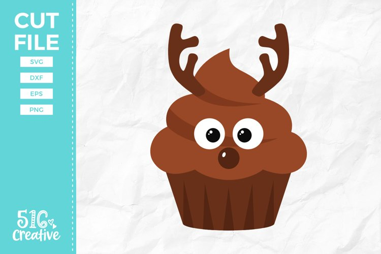 Reindeer Cupcake SVG DXF EPS PNG example image 1