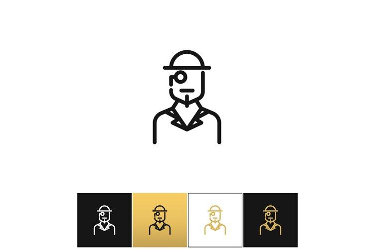 Vintage gentleman logo or retro hat man silhouette vector ic example image 1