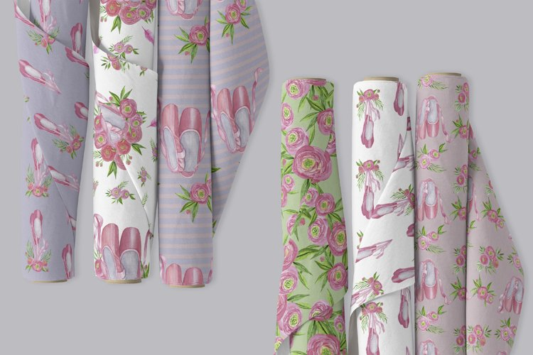 Floral Ballet Shoes Digital Papers Set example 1
