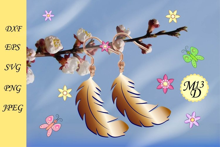 Feather Earrings SVG - Leather Earrings Cutting Templates example image 1