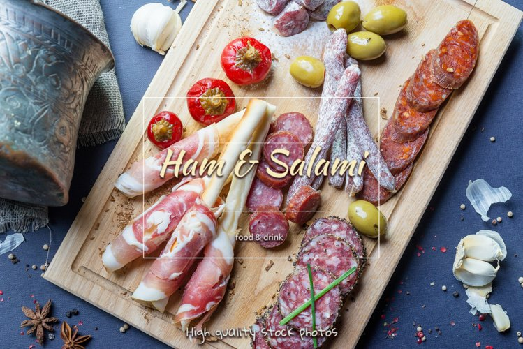 Salami and Ham. Traditional spanish appetizers.