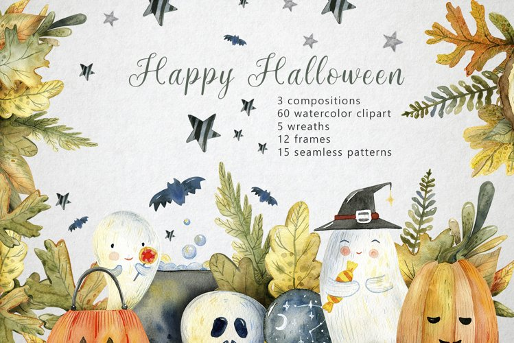 Magical Halloween Watercolor example image 1