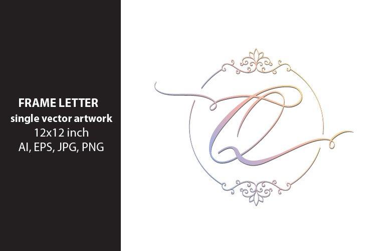 letter q inside ornate frame - single vector artwork example image 1