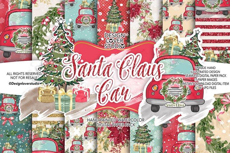 Santa Claus Car digital paper pack example image 1
