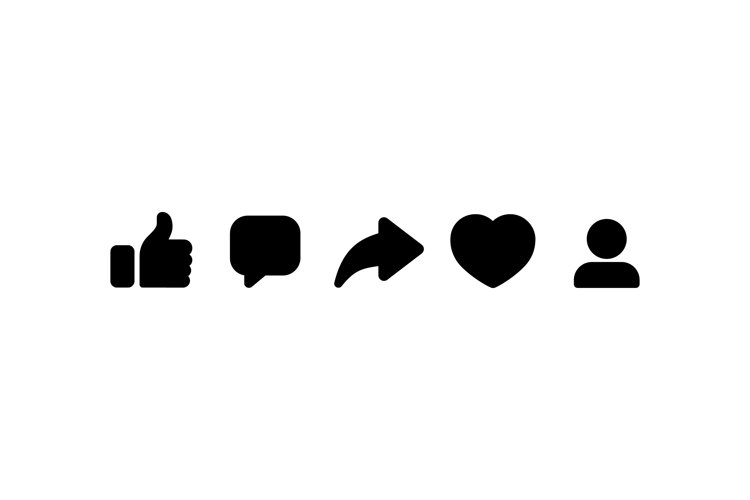 Social media icon. Thumbs up, repost, sharing, like, comment example image 1