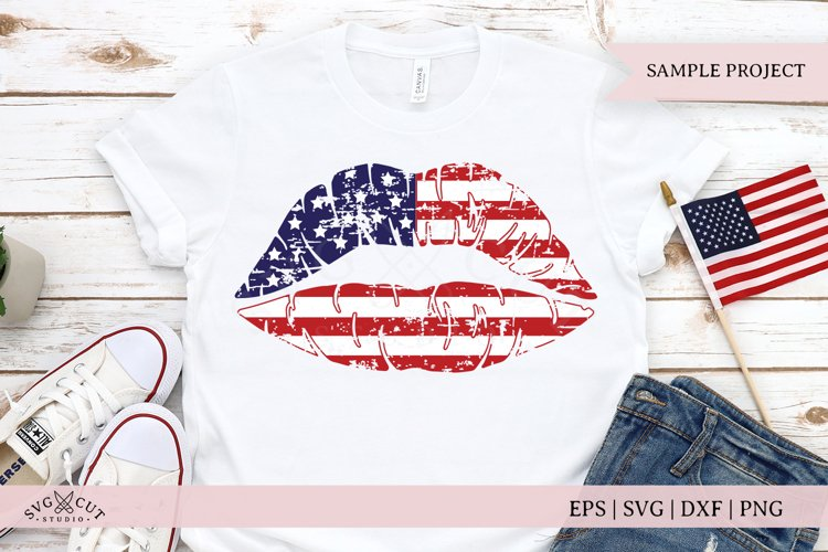 Distressed American Girl Lips SVG Files