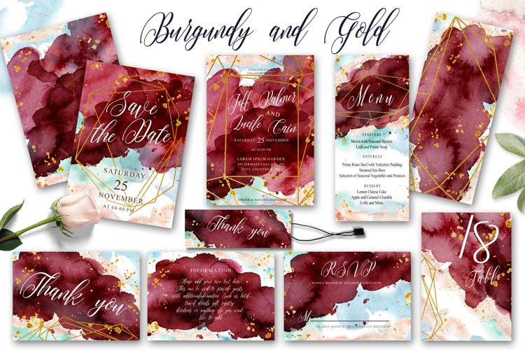 Burgundy and Gold Watercolor Wedding Invitation suite example image 1