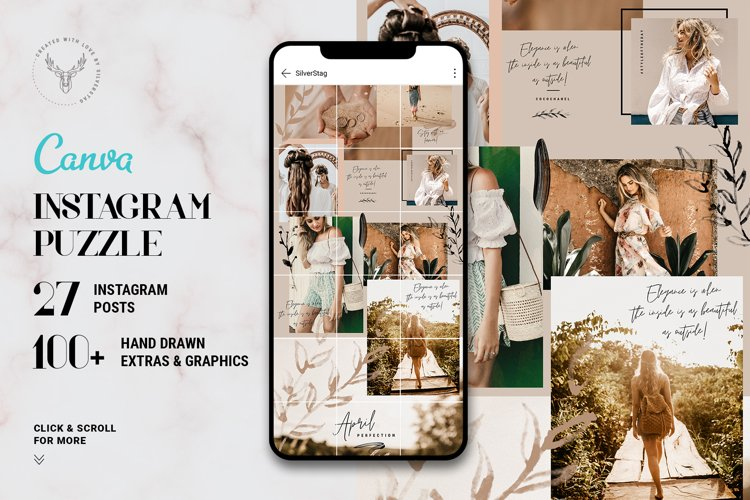 InstaGrid 7 - Canva Puzzle Template, Instagram Grid Template