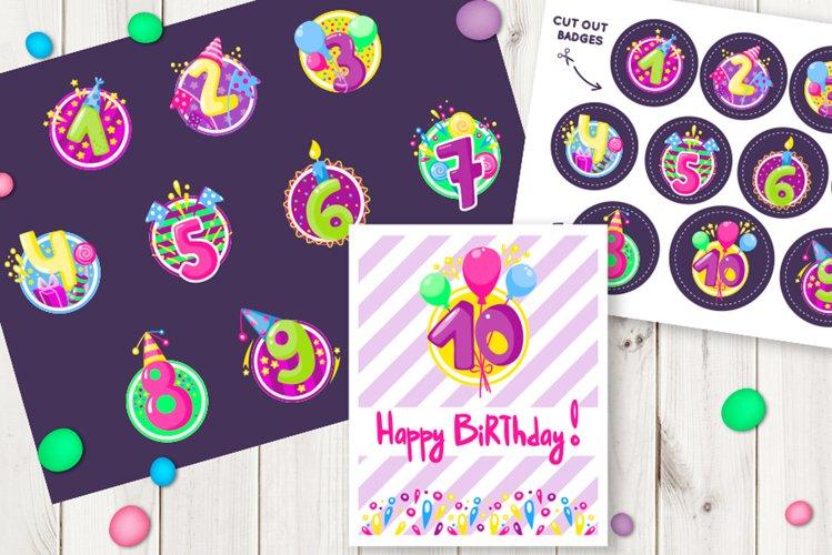 Happy birthday badges, stickers example image 1
