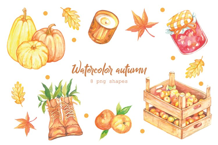 Watercolor Autumn Clipart. Watercolor Pumkin. Fall Vibes