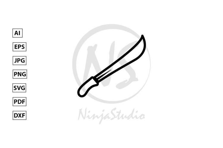 Sword Line Icon In Flat Style Vector example image 1