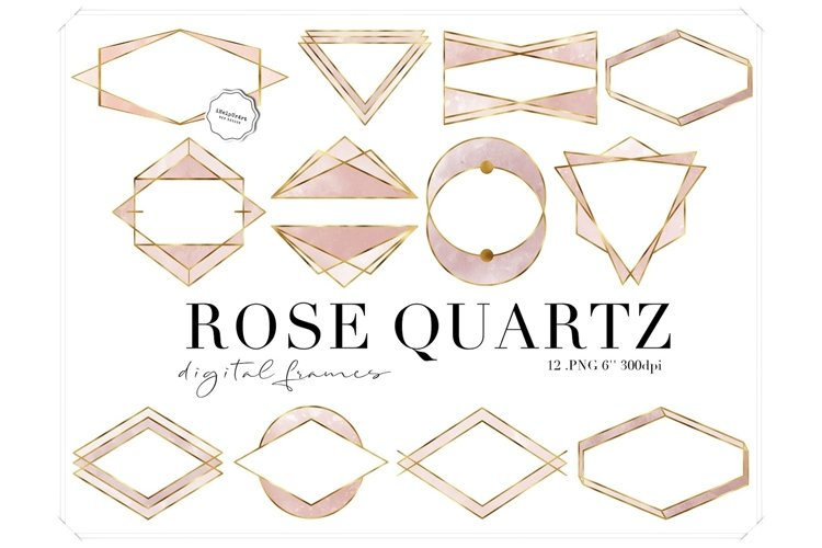 Rose Quartz Watercolor and Gold Polygonal Frames