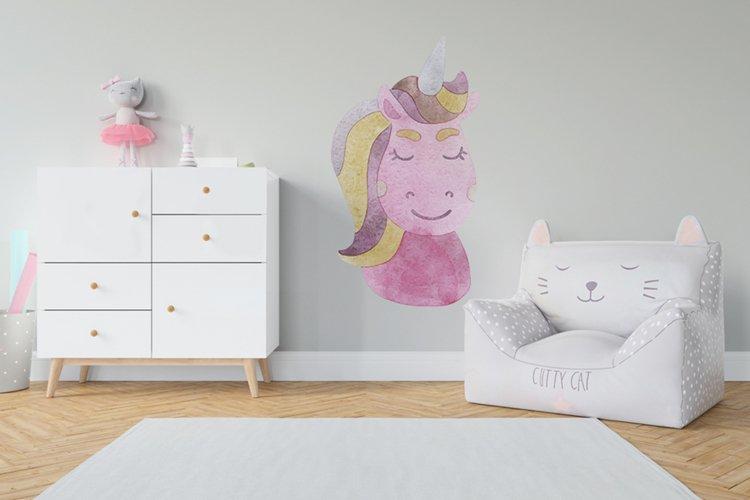 Watercolor rainbow unicorn clipart