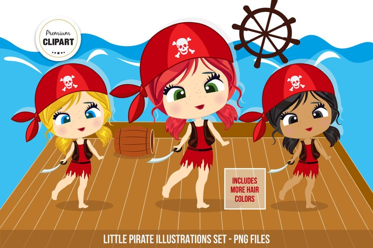 Pirate clipart, Pirate girl illustrations example image 1