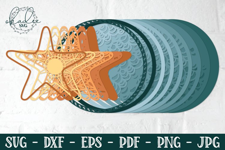 3D Starfish Mandala, Layered Mandala SVG, Starfish, Papercut example 1