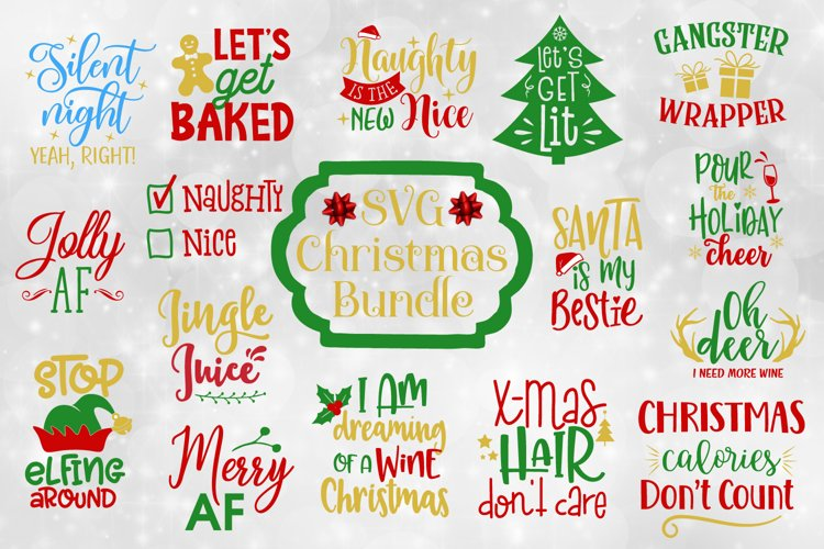 Funny Christmas Quotes Bundle - SVG, EPS, DXF, PNG example image 1