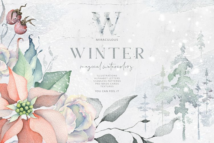 Winter Watercolors & Alphabets example image 1