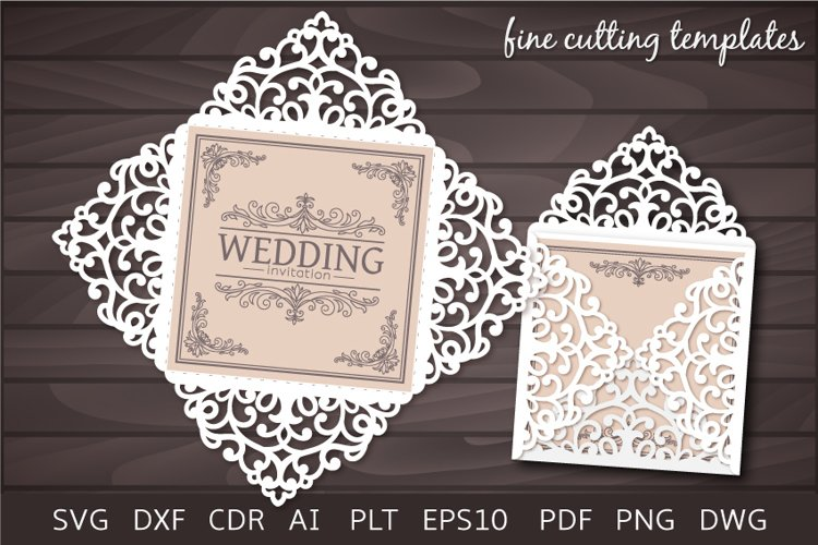 Wedding Invitation SVG Four fold card template, laser cut example image 1