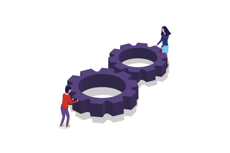 Unity, teamwork isometric concept. Connect two cogwheel. example image 1